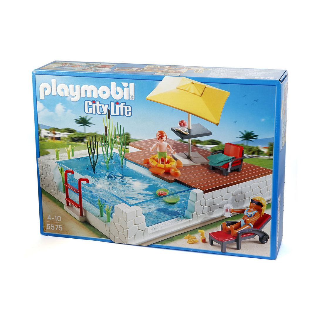 Playmobil 5575 piscina de obra for Playmobil piscina con tobogan