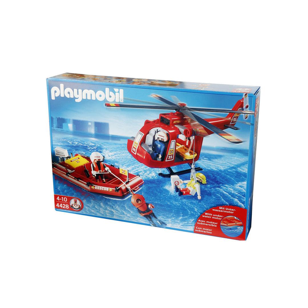 Playmobil 4428 helic ptero y lancha de salvamento mar timo for Helicoptero playmobil